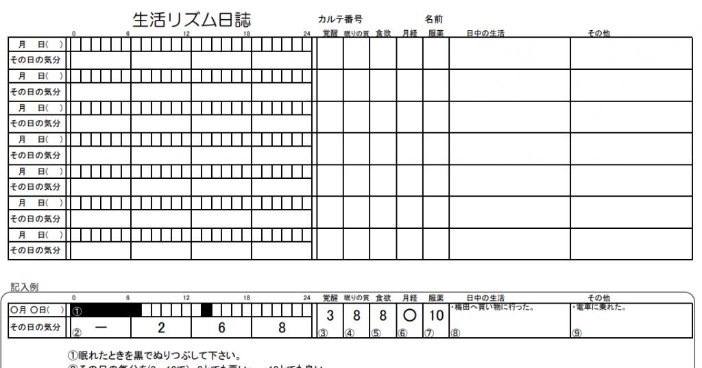 生活リズム記録表